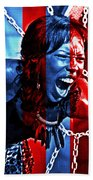 Anger In Red And Blue Beach Towel