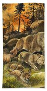 Animals United In Terror As They Flee From A Forest Fire Beach Towel