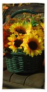 Antique Buggy And Sunflowers Beach Towel