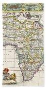 Antique Map Of Africa Beach Sheet