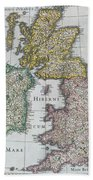 Antique Map Of Britain Beach Towel by English School