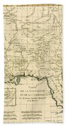 Antique Map Of Louisiana And Florida Beach Towel by Guillaume Raynal
