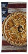 Apple Pie On Folk Art  American Flag Beach Sheet