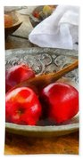 Apples In A Silver Bowl Beach Towel by Susan Savad