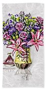 Arrangement In Pink And Purple On Rice Paper Beach Towel