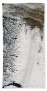 Ash Plume From Chaiten Volcano And Snow Beach Towel