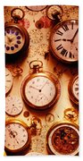 Assorted Watches On Time Chart Beach Towel