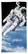 Astronaut Floating In Space Beach Sheet