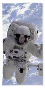 Astronaut Gernhardt On Robot Arm Beach Towel