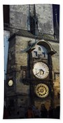 Astronomical Clock At Night Beach Towel