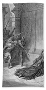 Athaliah (d. 836 B.c.). /nqueen Of Judah, C842-836 B.c. The Death Of Athaliah (ii Chronicles 22:10, 23:15). Wood Engraving, 19th Century, After Gustave Dor� Beach Towel