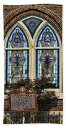 Athens Alabama First Presbyterian Church Stained Glass Window Beach Towel