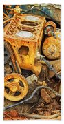 Auto Engine Block From A Wrecked Car Beach Towel