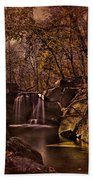 Autumn At The Waterfall In The Ravine In Central Park Beach Towel
