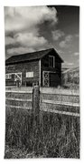 Autumn Barn Black And White Beach Towel