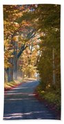 Autumn Country Road - Oil Beach Towel