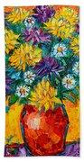 Autumn Flowers Gorgeous Mums - Original Oil Painting Beach Towel
