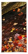 Autumn Leaves In River Beach Towel