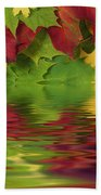 Autumn Leaves In Water With Reflection Beach Towel