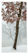 Autumn Leaves In Winter Snow Storm Beach Towel
