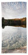 Autumn Nature Lake Rocks And Trees Panorama Beach Towel