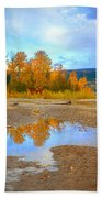 Autumn Puddles Beach Towel