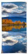 Autumn Reflections In October Beach Towel by Tara Turner