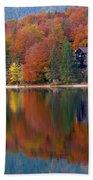 Autumn Reflections On Lake Bohinj In Slovenia Beach Towel