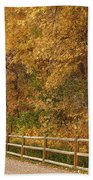 Autumn  Road To The Ranch Beach Towel