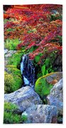 Autumn Waterfall - Digital Art Beach Towel