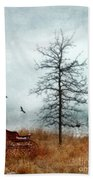 Baby Buggy By Tree With Nest And Birds Beach Towel by Jill Battaglia