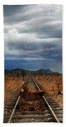 Baby Buggy On Railroad Tracks Beach Towel