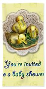 Baby Shower Invitation - Yellow Ducklings Figurine Beach Towel