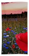 Bachelor Buttons And Poppies Beach Towel