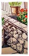 Backyard Sketchbook Project Down My Street Beach Towel by Irina Sztukowski