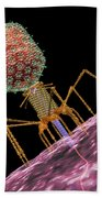 Bacteriophage T4 Injecting Beach Towel by Russell Kightley