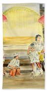 Balinese Children In Traditional Clothing Beach Towel