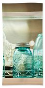 Ball Jars And White Rooster Beach Towel