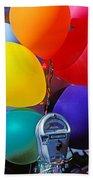 Balloons Tied To Parking Meter Beach Sheet