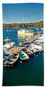 Bar Harbor Boat Dock Beach Towel