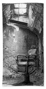 Barber - Chair - Eastern State Penitentiary - Black And White Beach Towel