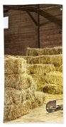 Barn With Hay Bales Beach Towel