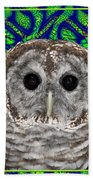 Barred Owl In A Fractal Tree Beach Towel