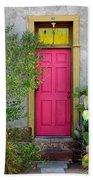 Barrio Door Pink And Gray Beach Towel