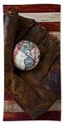 Baseball Mitt With Earth Baseball Beach Towel