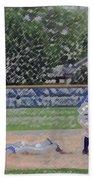 Baseball Playing Hard Digital Art Beach Towel