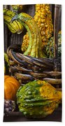 Basket Full Of Gourds Beach Towel
