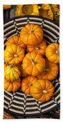Basket Full Of Small Pumpkins Beach Towel