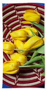 Basket Full Of Tulips Beach Towel