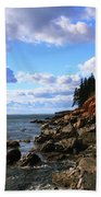 Bass Harbor Head Seascape Beach Towel